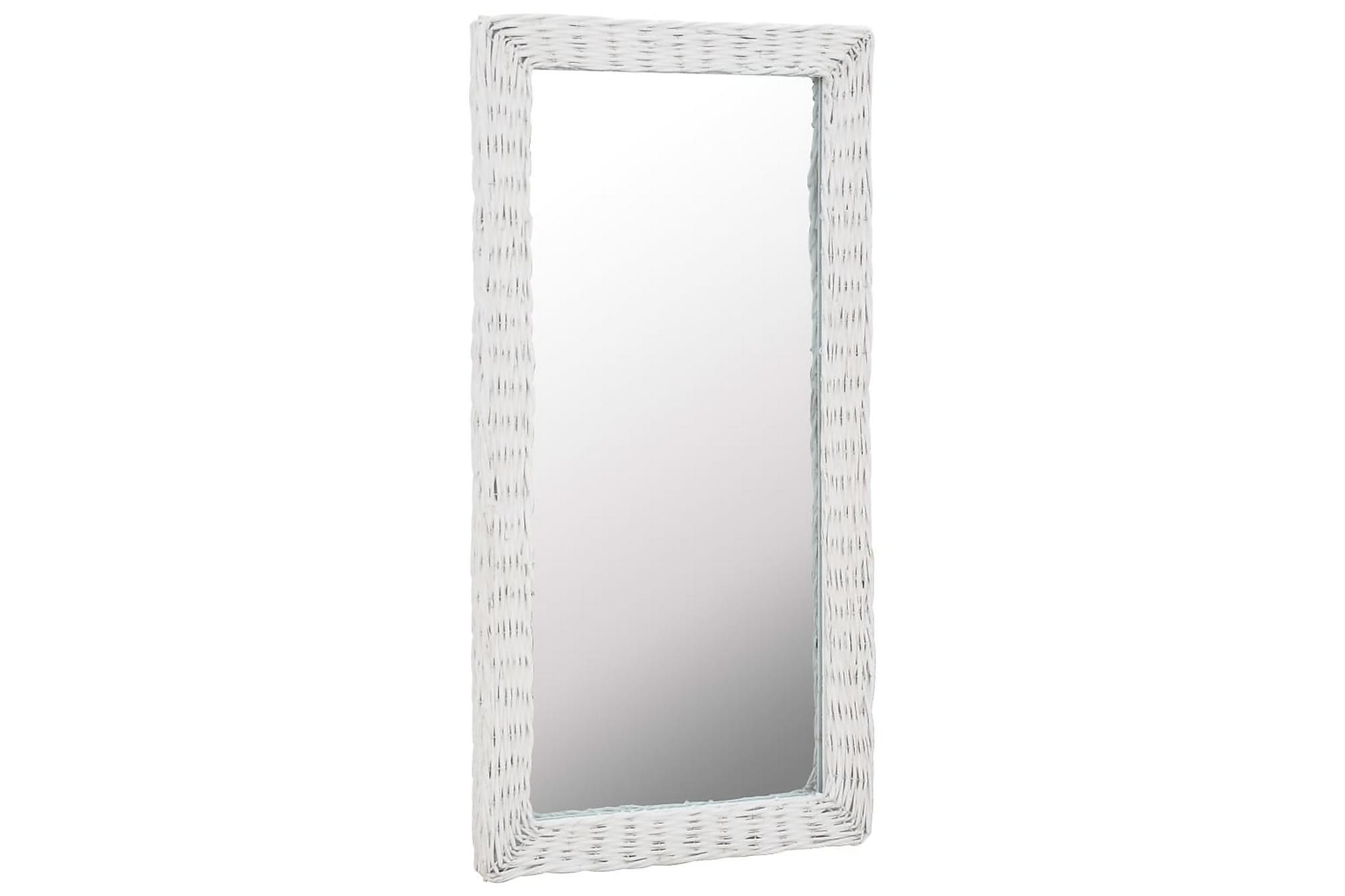 Spegel i korgmaterial 50x100 cm vit
