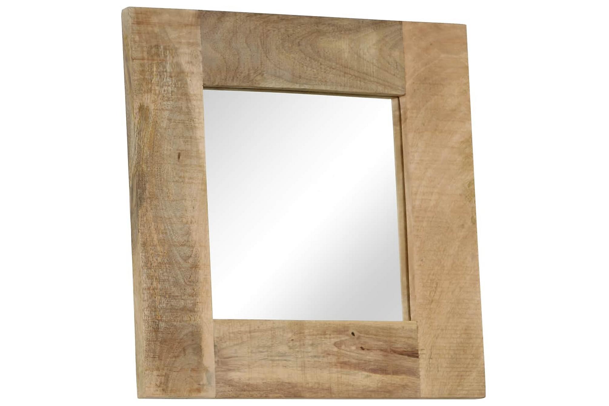 Spegel i massivt mangoträ 50x50 cm