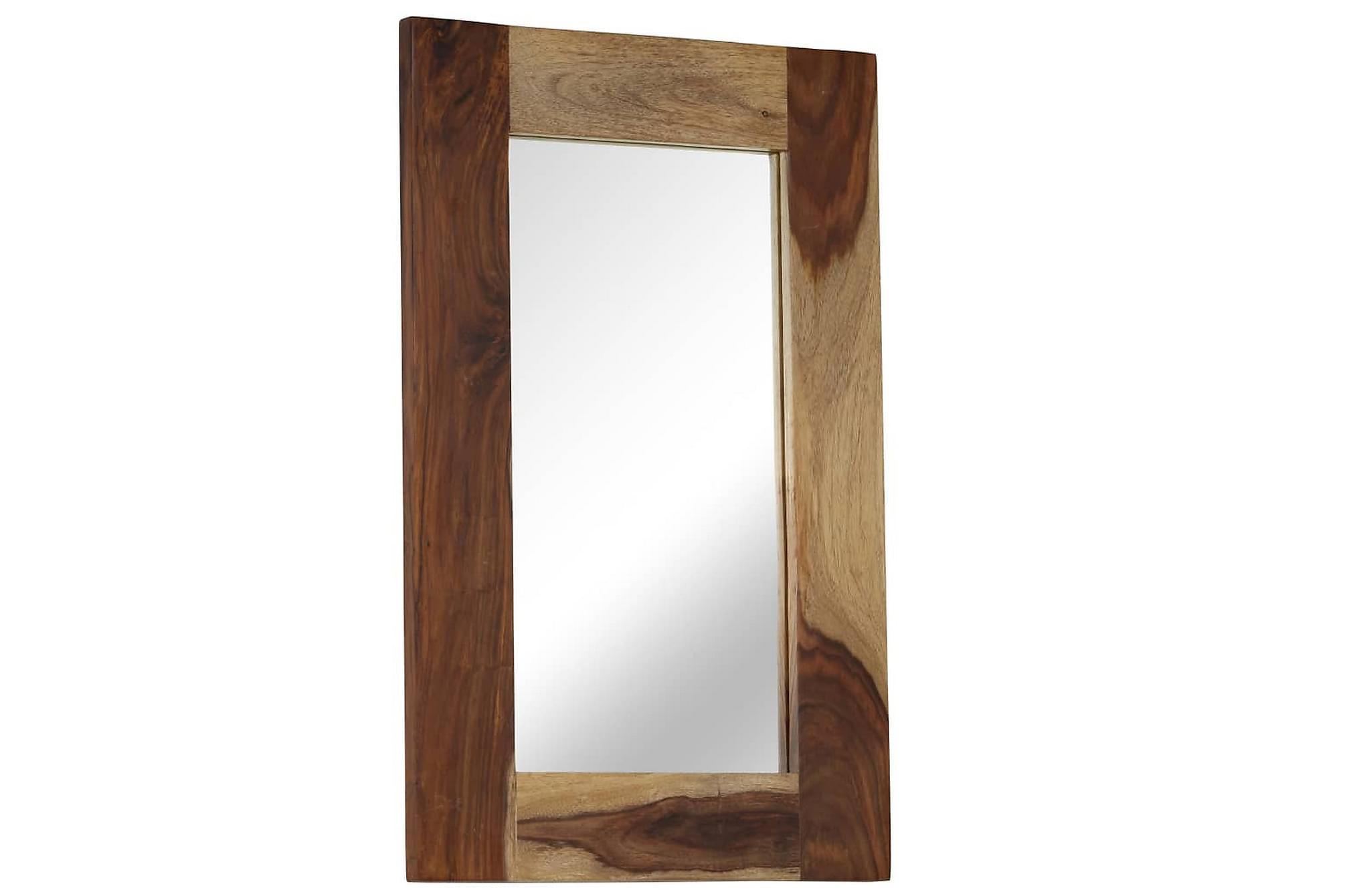Spegel i massivt sheshamträ 50x80 cm