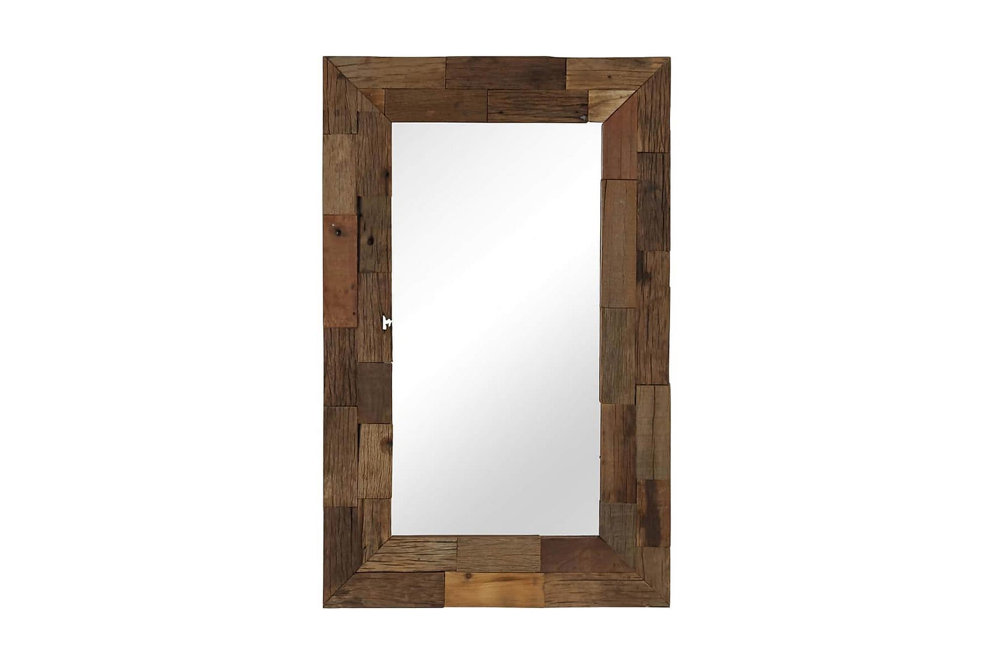 Spegel massivt återvunnet trä 50x80 cm