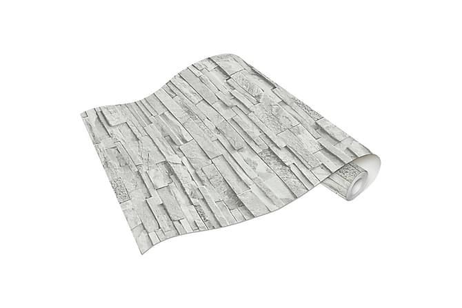 Tapetrullar 2 st ljusgrå 0,53x10 m tegel - Grå - Möbler & Inredning - Inredning - Tapeter