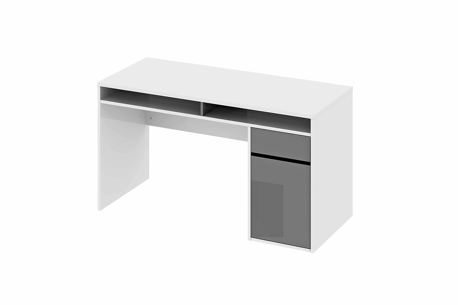 Pinzolo PINZOLO Plus Skrivbord Vit Högglans/Grå Högglans -