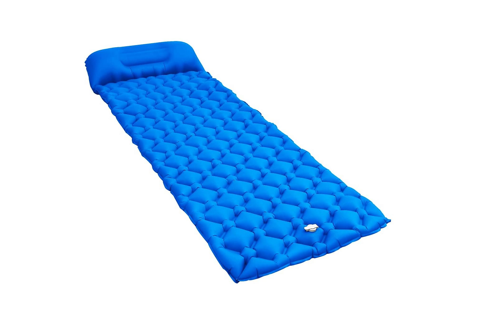 Luftmadrass med kudde 58x190 cm blå, Luftmadrasser & uppblåsbara madrass