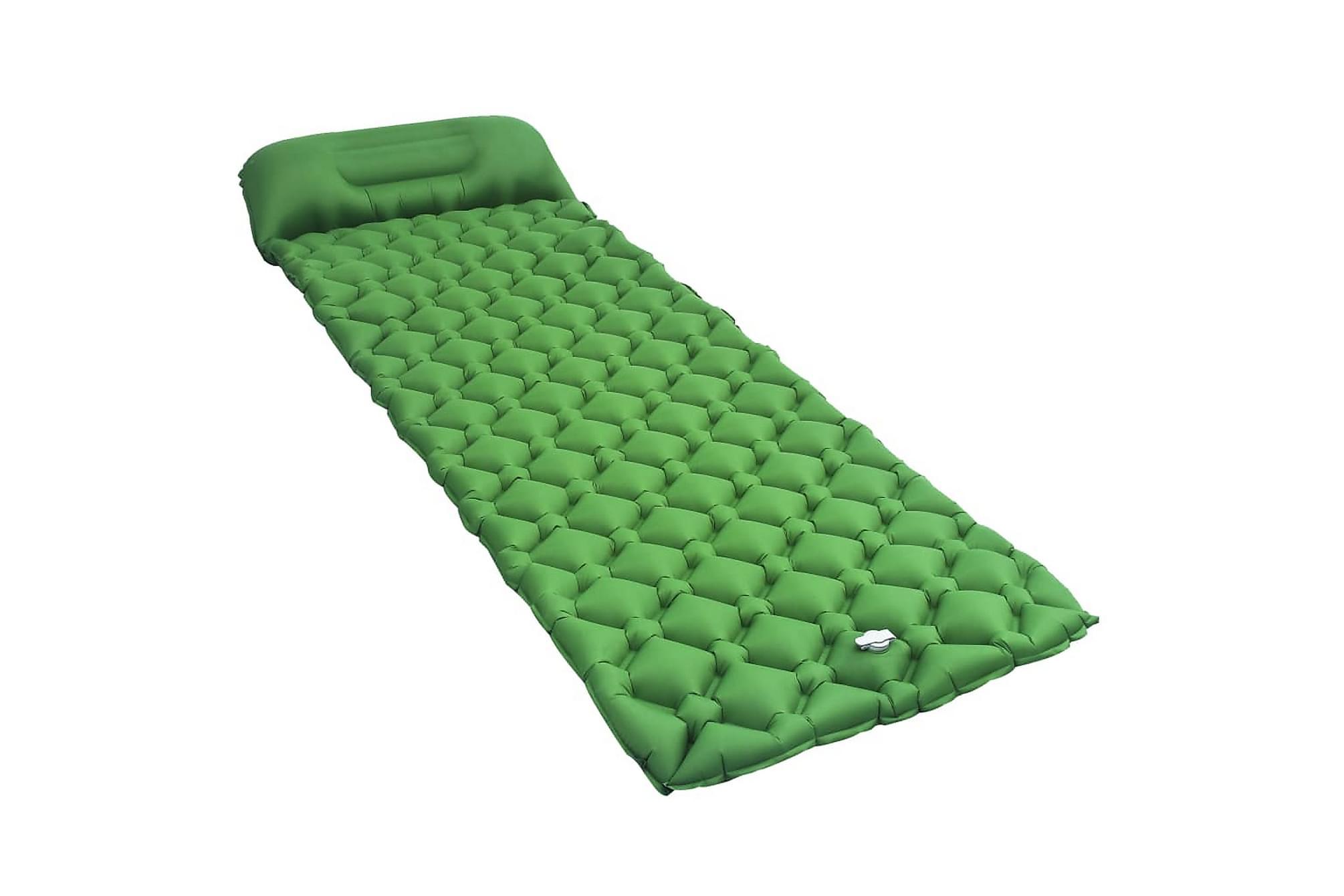 Luftmadrass med kudde 58x190 cm grön, Luftmadrasser & uppblåsbara madrass