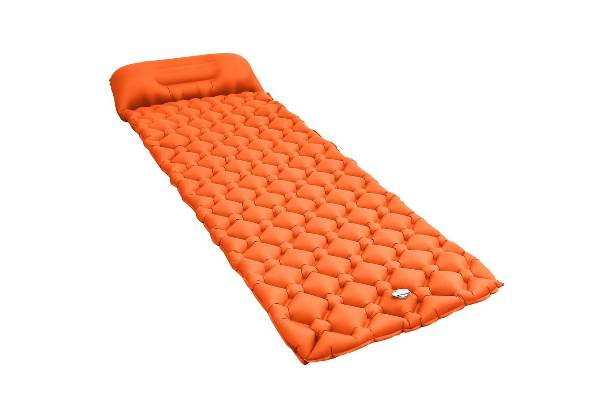 Luftmadrass med kudde 58x190 cm orange, Luftmadrasser & uppblåsbara madrass
