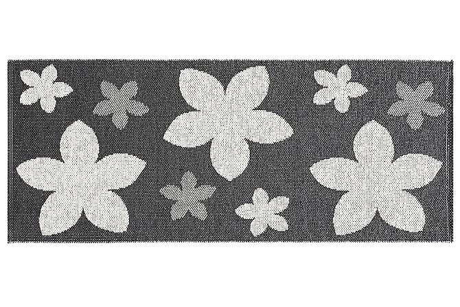FLOWER Plastmatta 70x350 Vändbar PVC Svart - Möbler & Inredning - Mattor - Balkongmattor & utomhusmattor