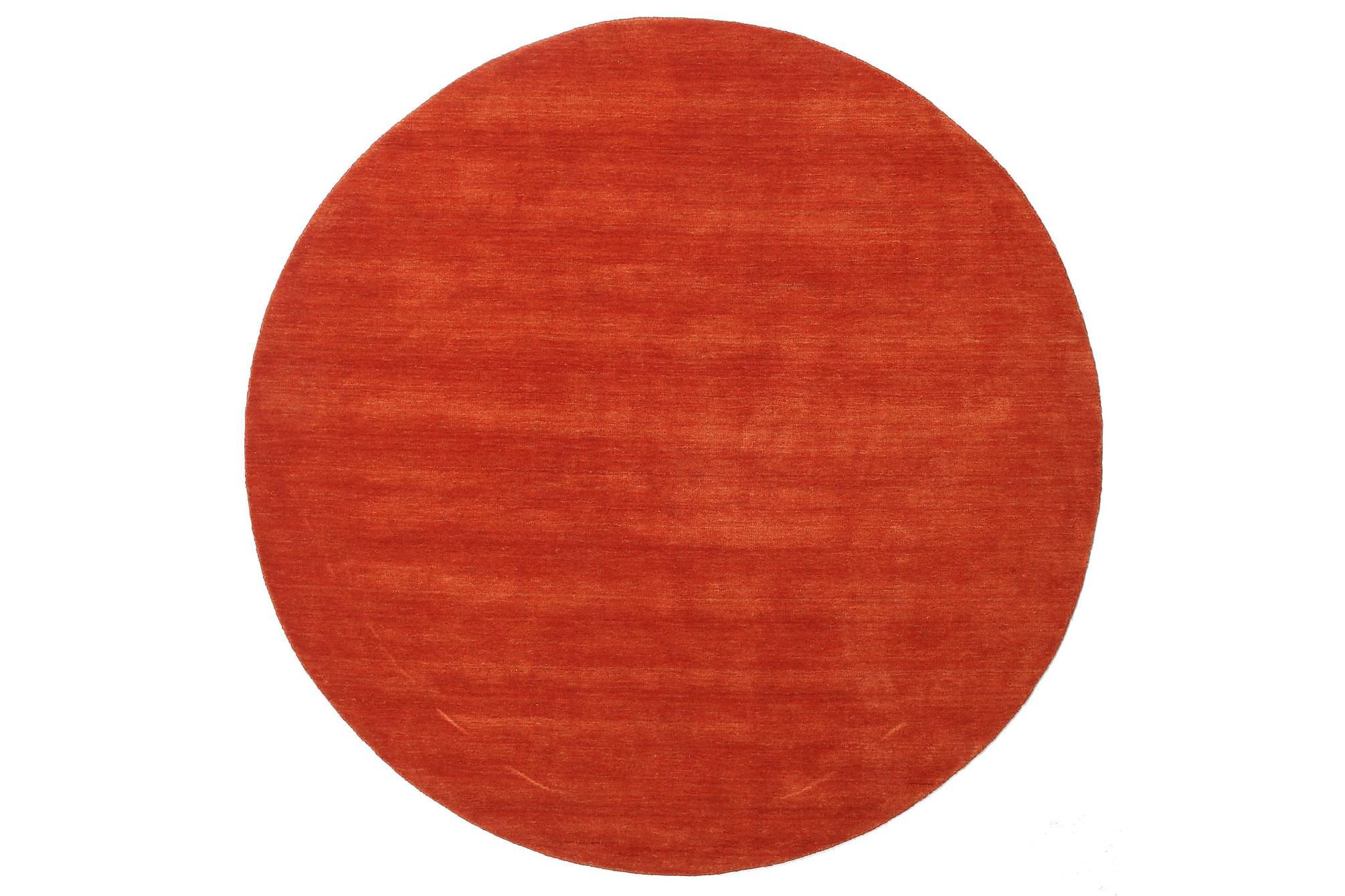 Stor Rund Matta Handloom Ø250 Orange/Röd