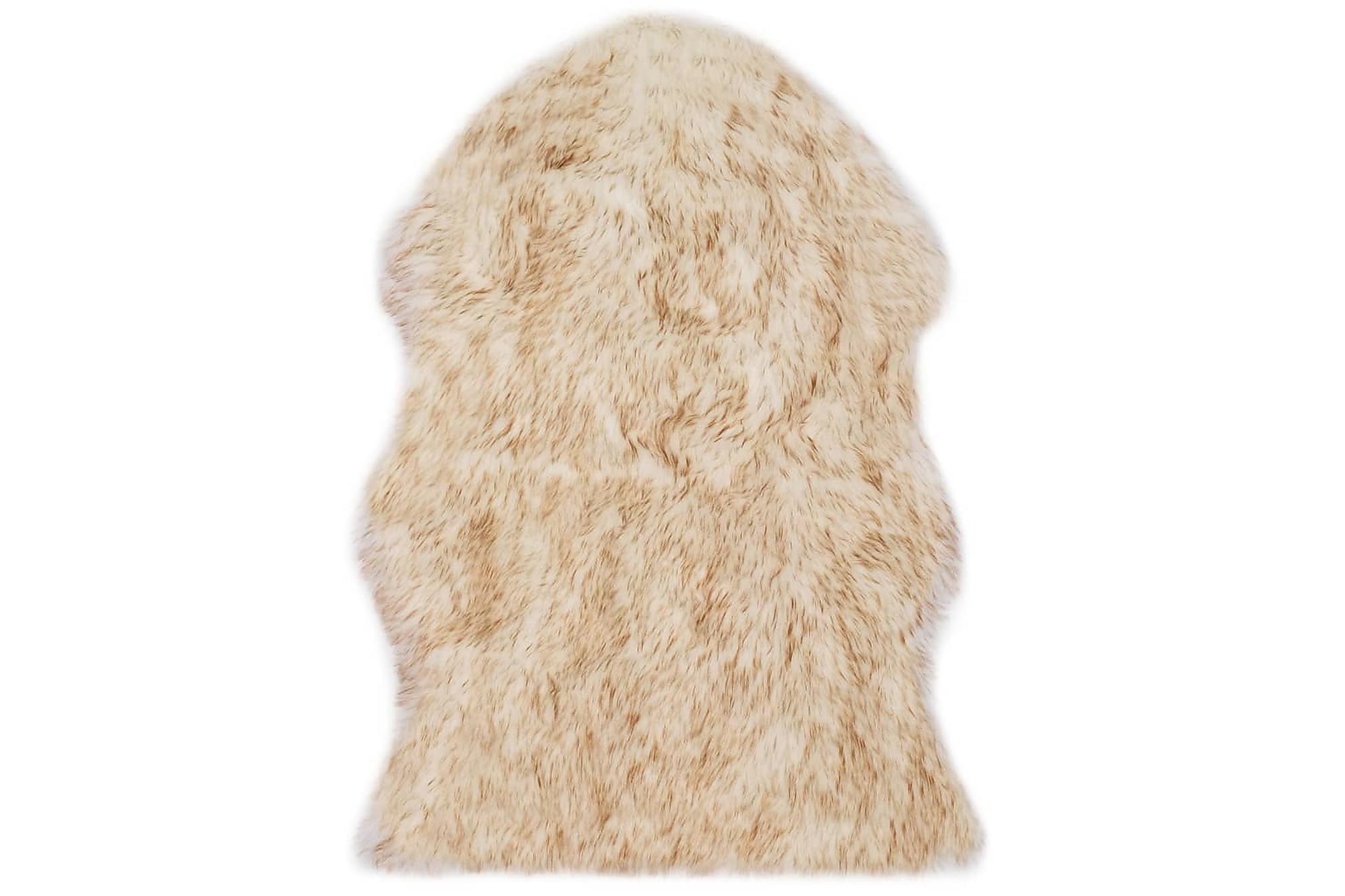Matta 60×90 cm konstgjort fårskinn brun melange