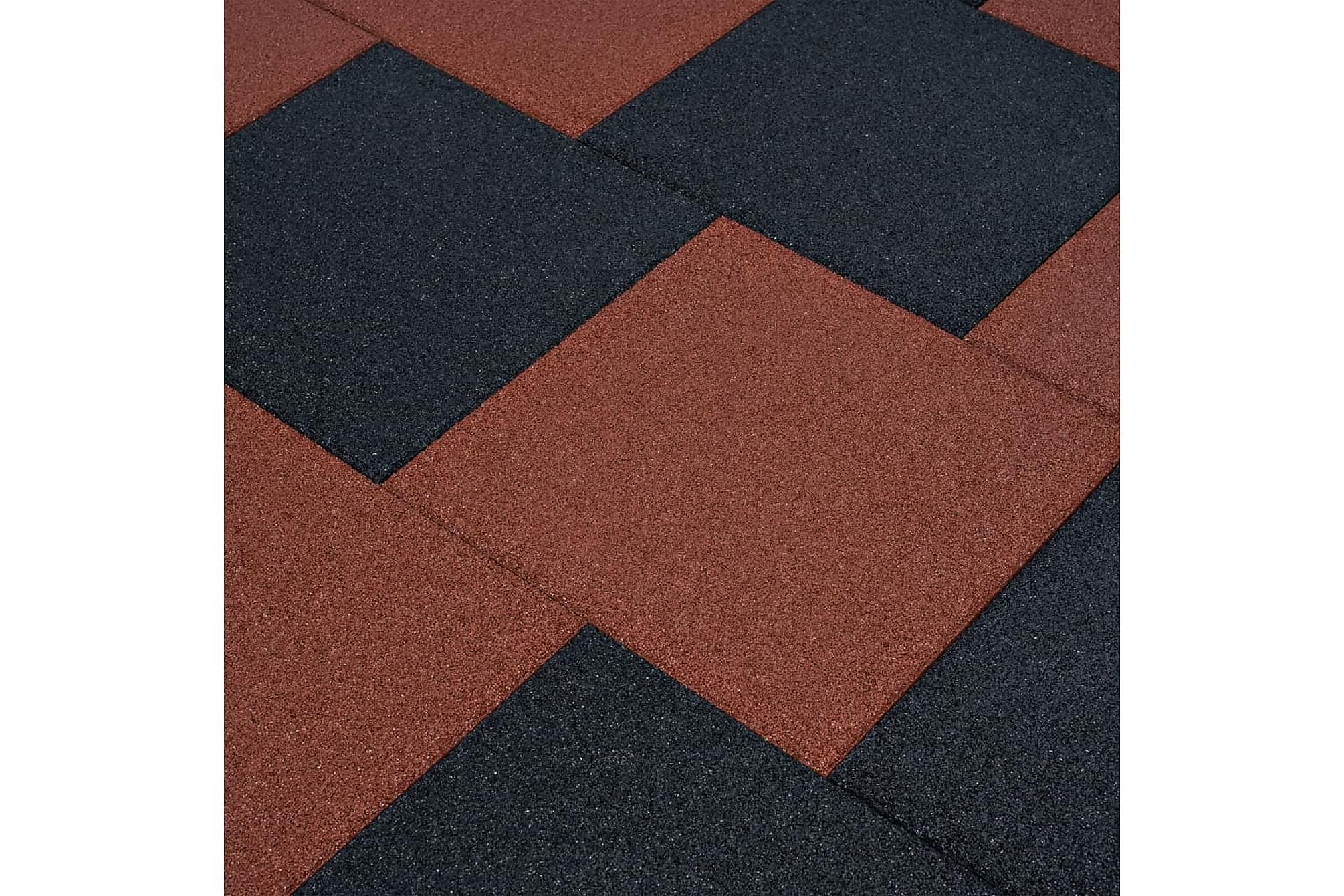 Fallskyddsmattor 12 st gummi 50x50x3 cm röd, Golvskydd