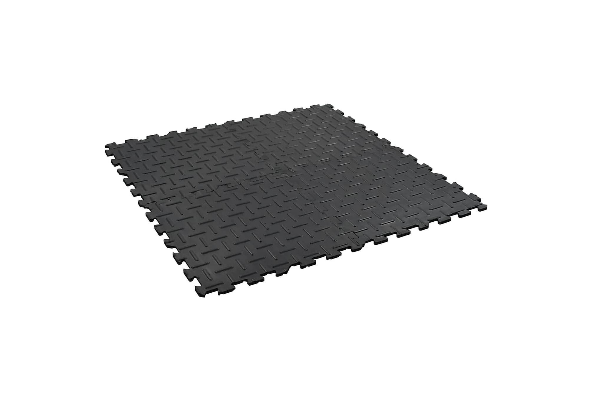 Halkfria mattor 4 st 60×60 cm 12 mm spår