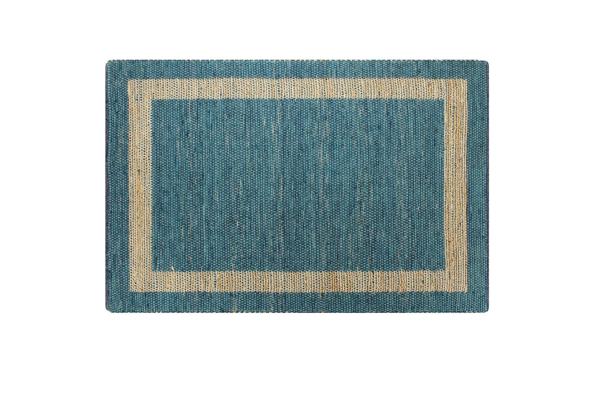 Handgjord jutematta blå 160x230 cm, Handvävda mattor