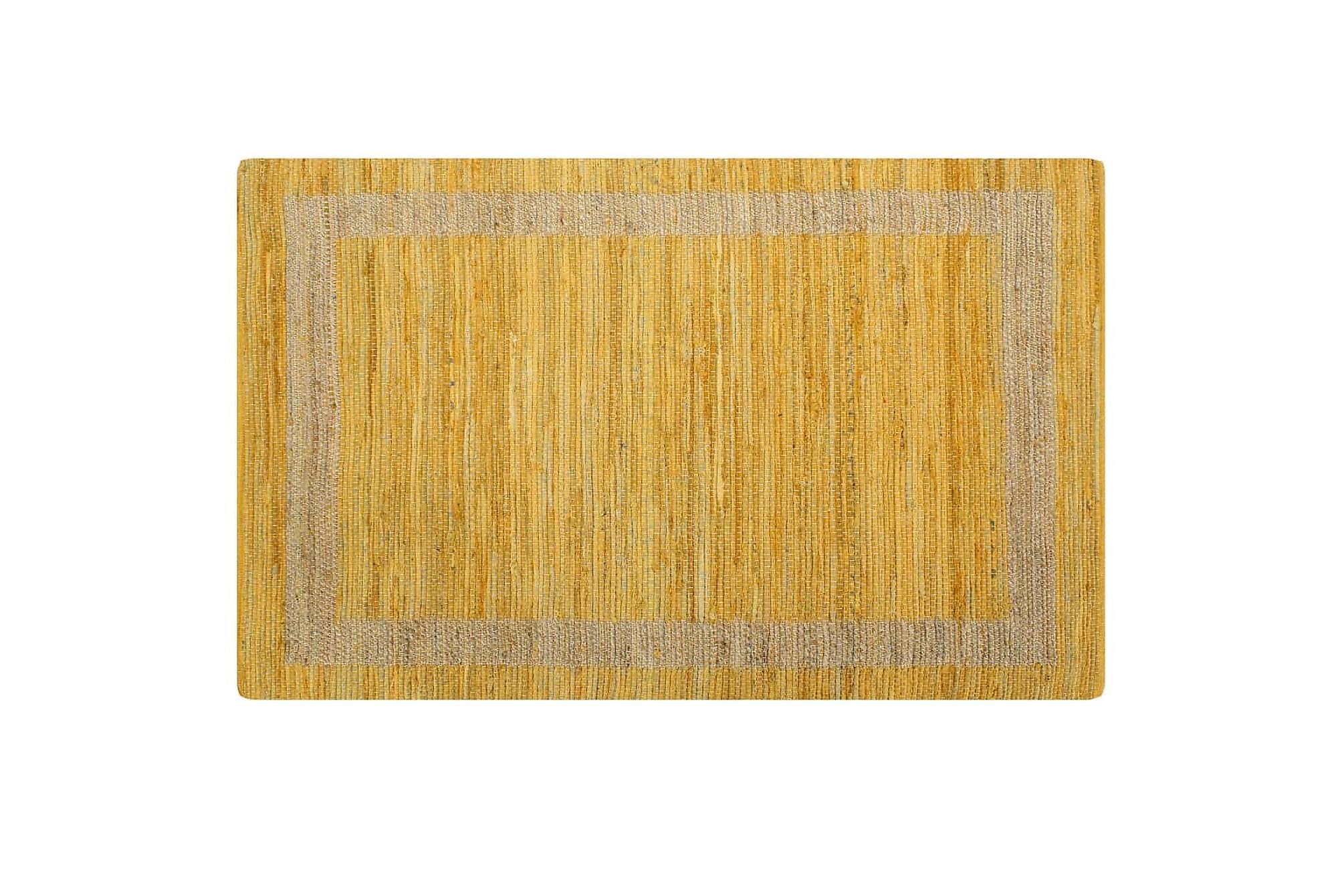 Handgjord jutematta gul 160x230 cm, Handvävda mattor