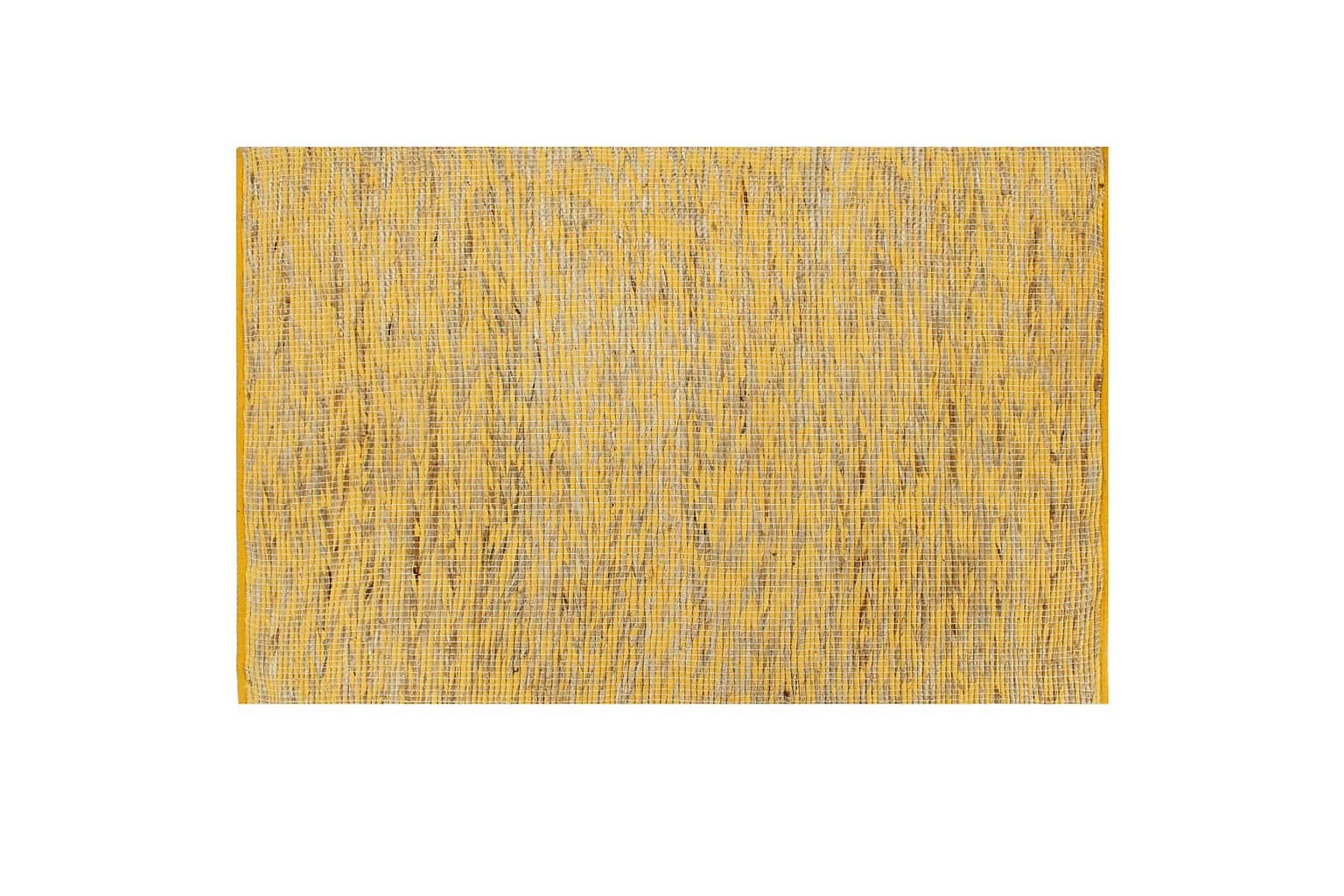 Handgjord jutematta gul och naturlig 120x180 cm, Handvävda mattor