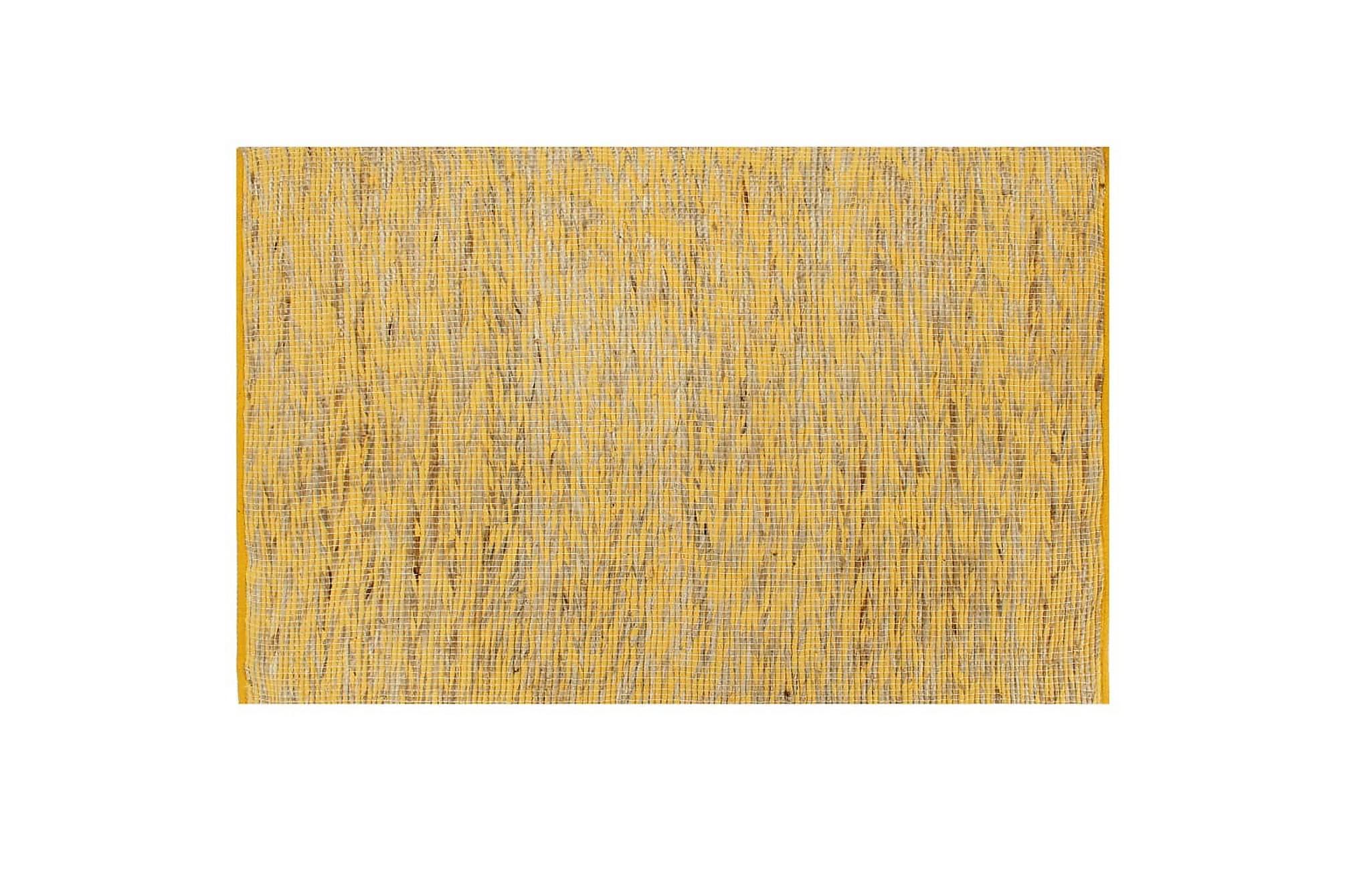 Handgjord jutematta gul och naturlig 80x160 cm, Handvävda mattor