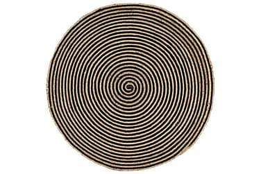 Handgjord jutematta med spiraltryck svart 150