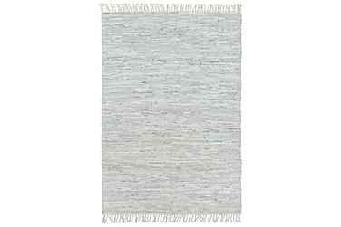 HANDVÄVD matta Chindi läder 120x170 ljusgrå