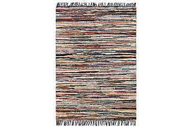 HANDVÄVD matta Chindi läder 160x230 flerfärgad