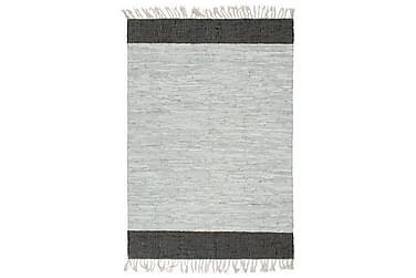 Handvävd matta Chindi läder 160x230 ljusgrå och svart
