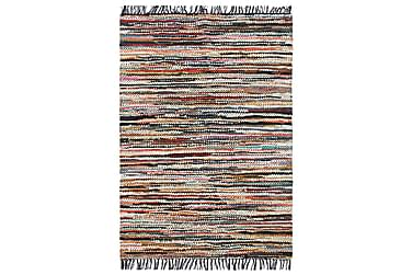 Handvävd matta Chindi läder 190x280 flerfärgad