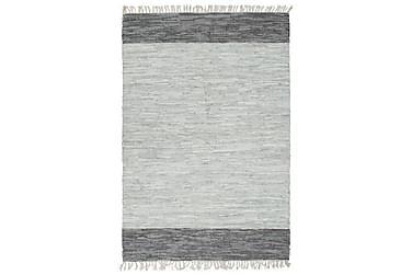 Handvävd matta Chindi läder 190x280 grå
