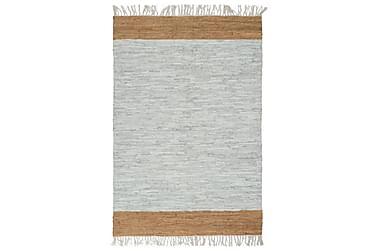 Handvävd matta Chindi läder 190x280 ljusgrå och beige