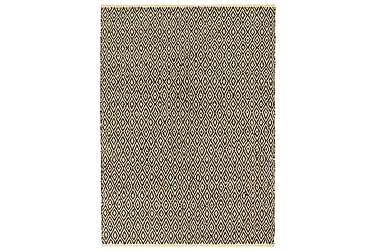 Handvävd matta Chindi läder bomull 160x230 svart