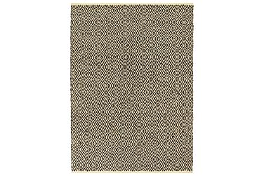 HANDVÄVD matta Chindi läder bomull 190x280 svart