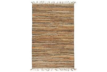HANDVÄVD matta Chindi läder jute 120x170 beige
