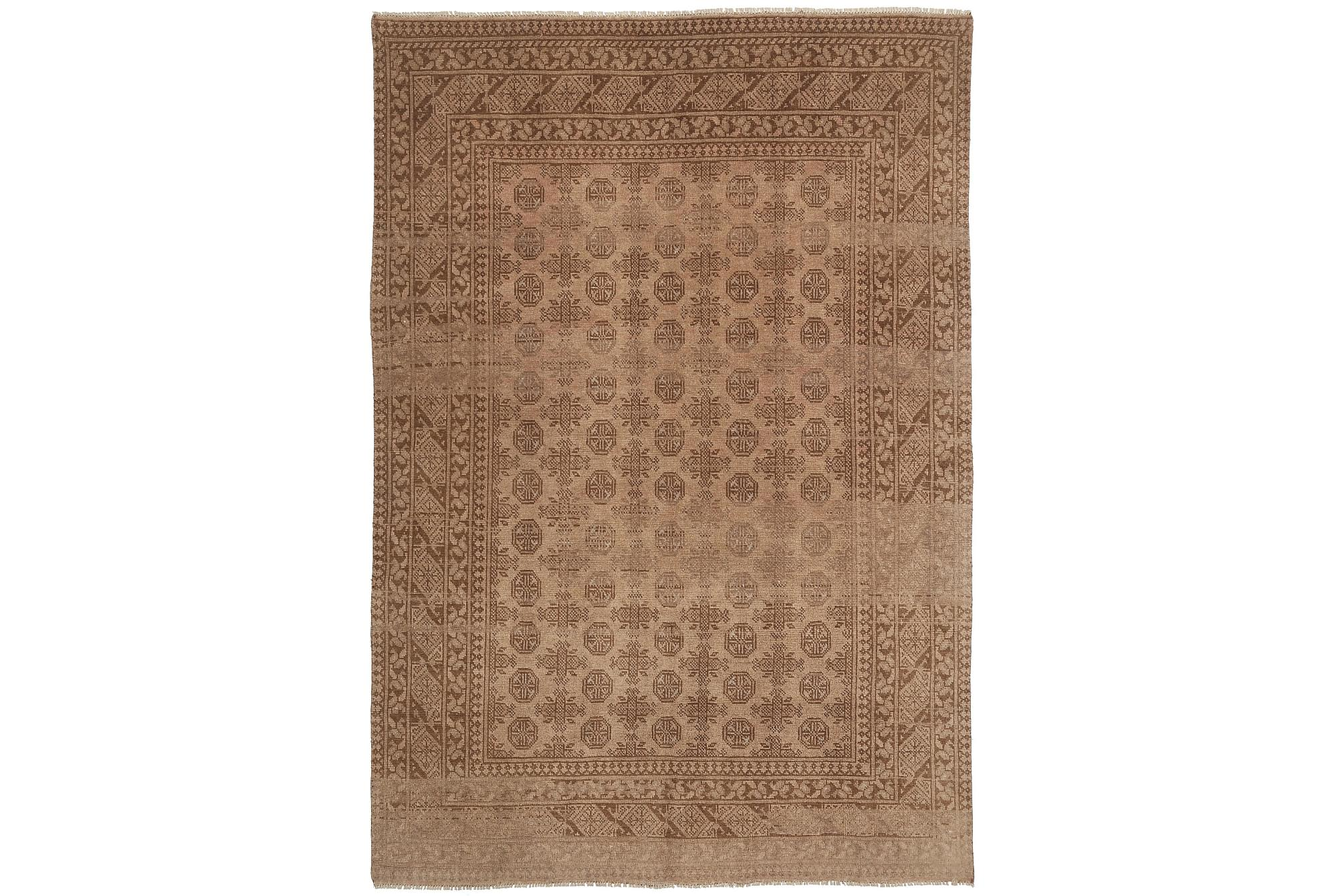 AFGHAN Matta 193x278 Stor Beige/Brun, Orientaliska mattor