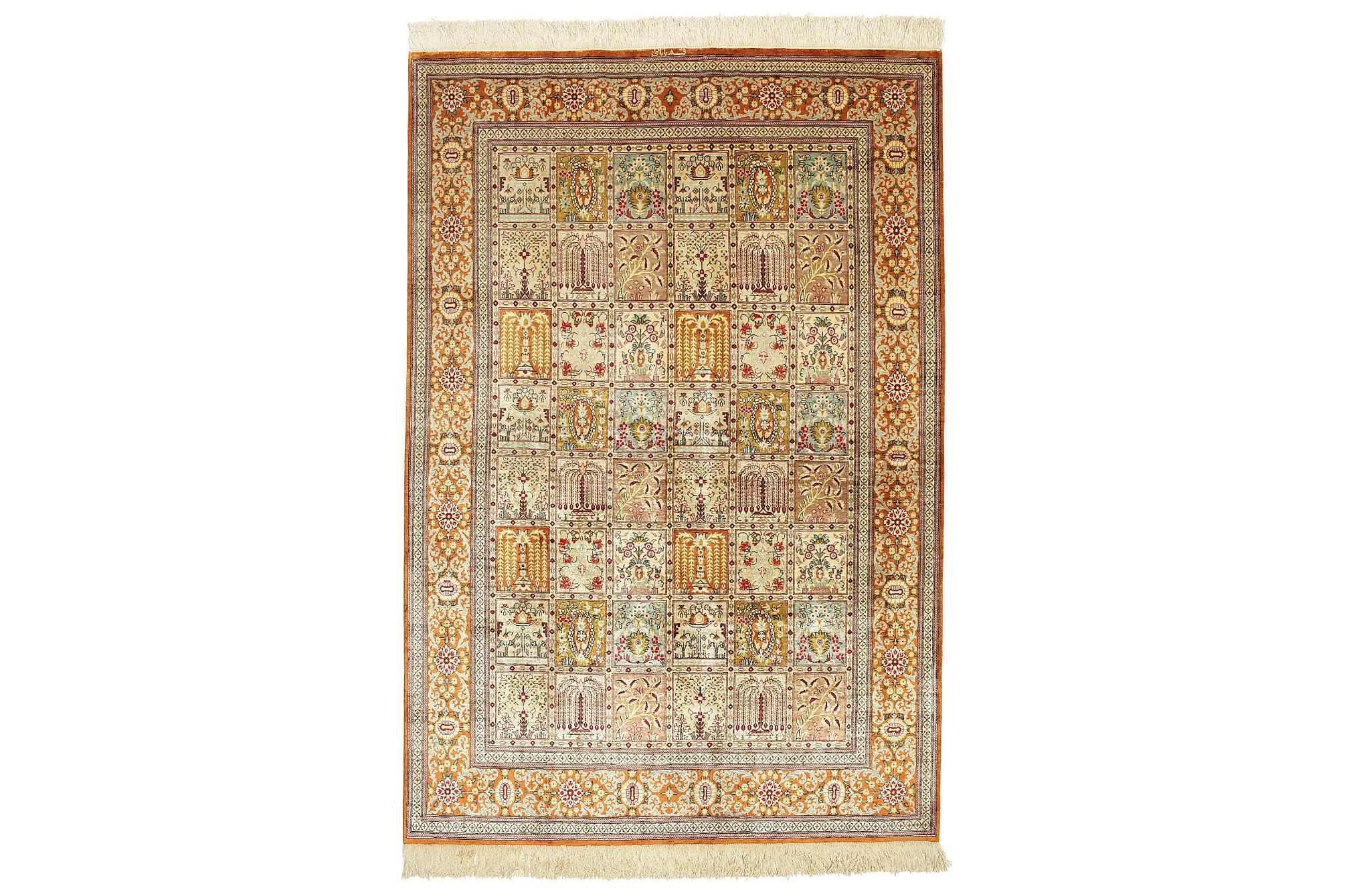 GHOM Orientalisk Silkesmatta 133×197 Flerfärgad
