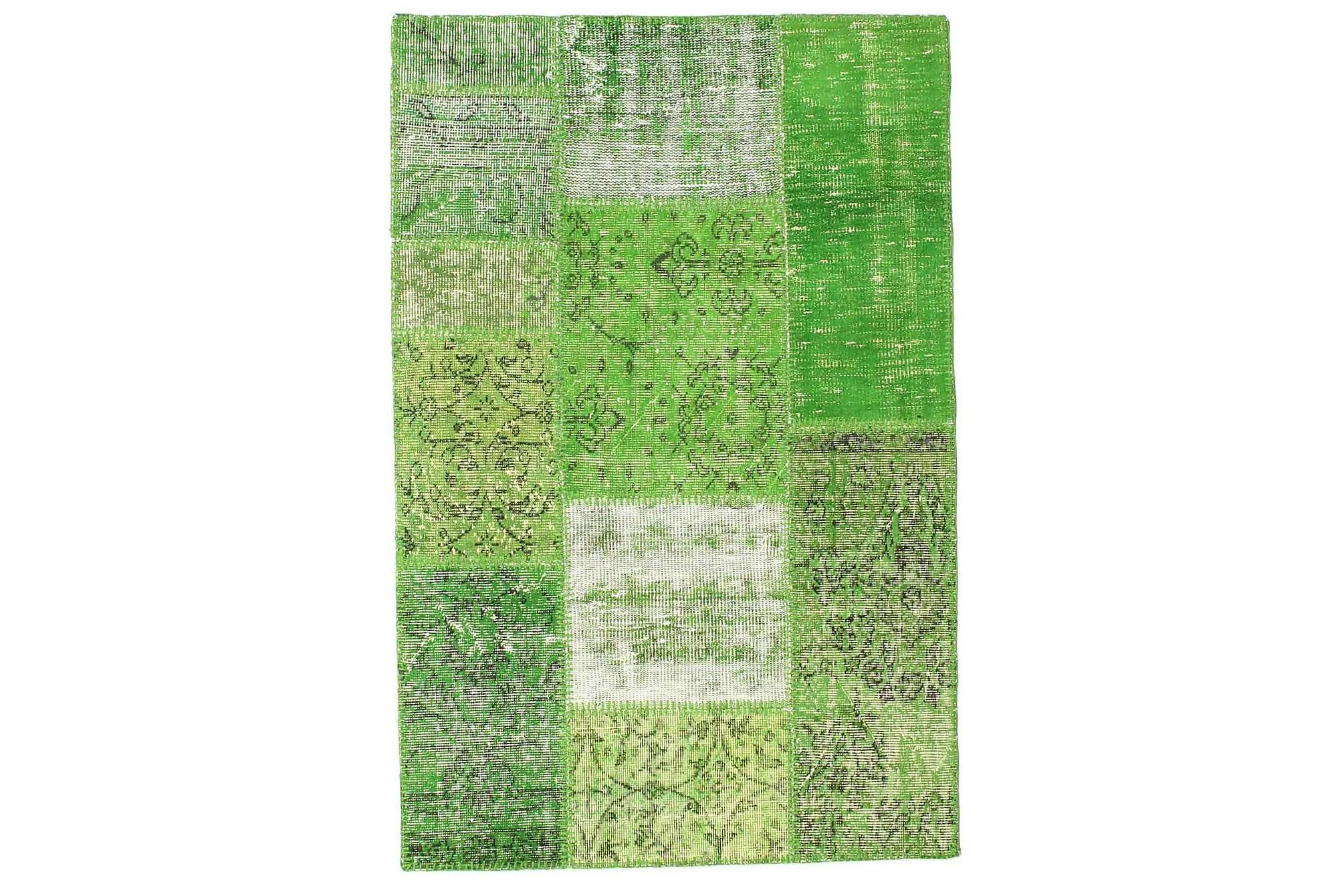 AGADIR Patchworkmatta 100x152 Modern Grön, Patchwork mattor