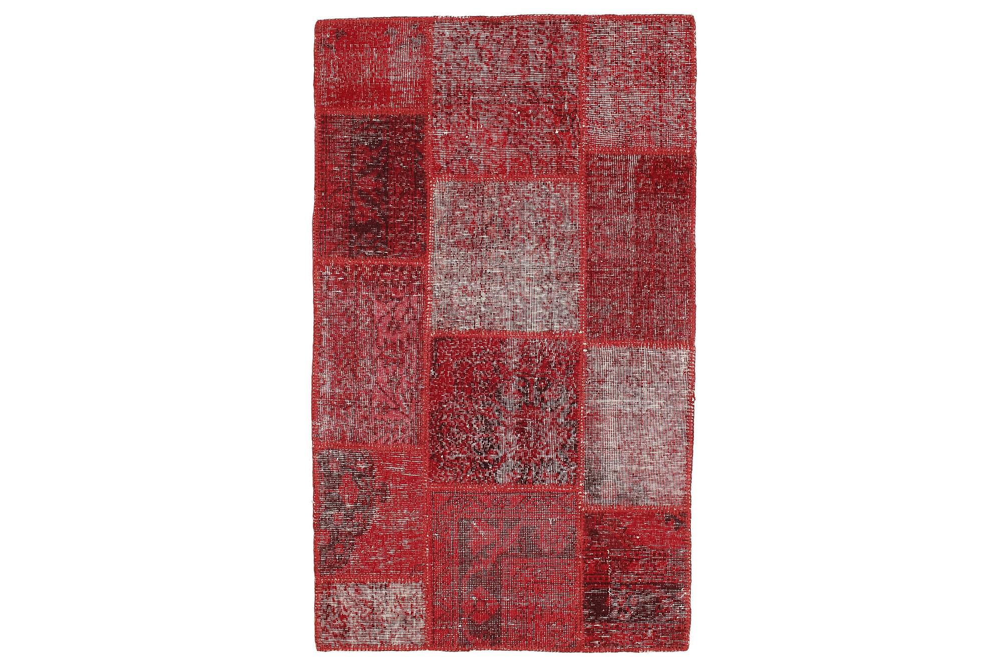 AGADIR Patchworkmatta 100x164 Modern Röd, Patchwork mattor