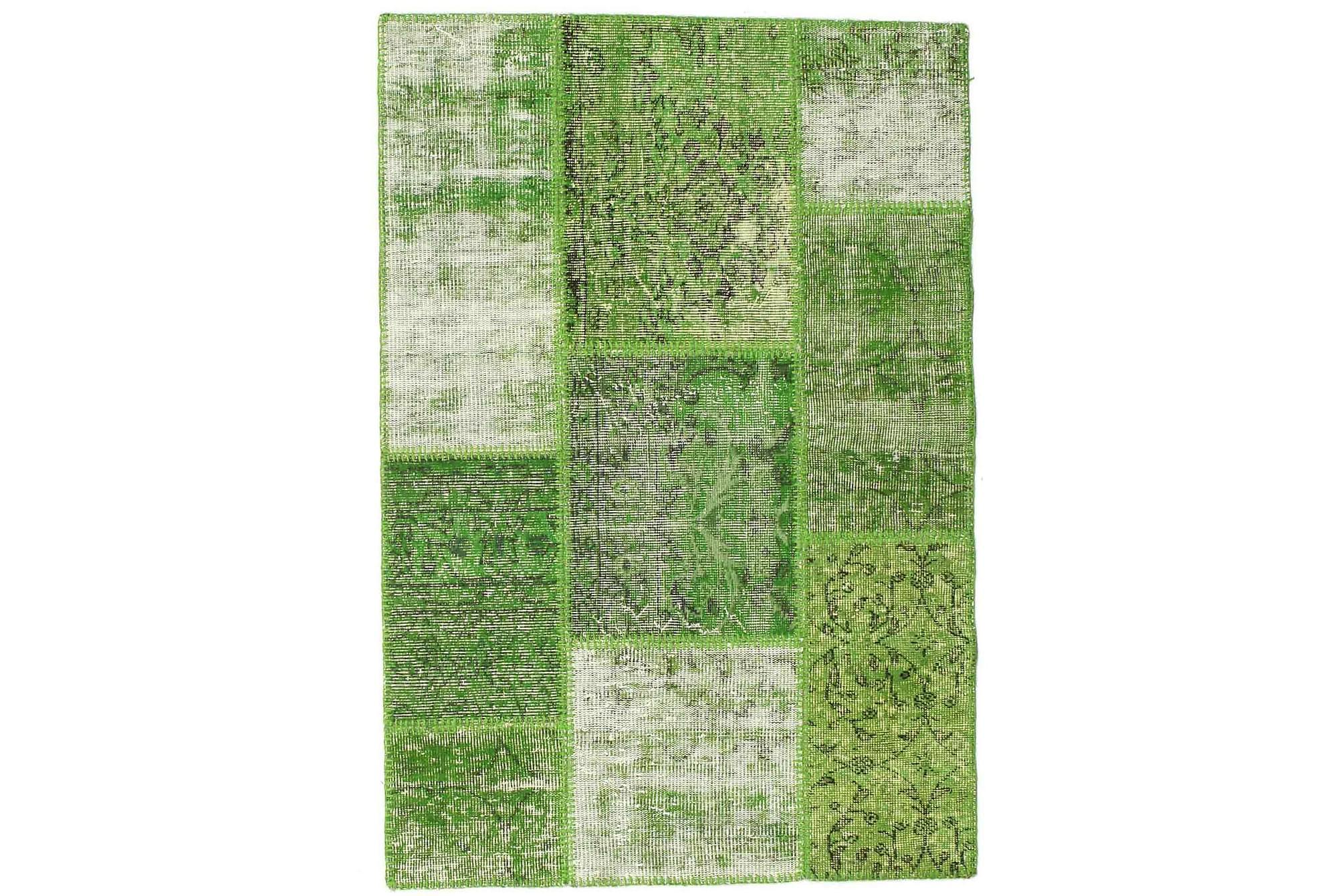 AGADIR Patchworkmatta 101x149 Modern Grön, Patchwork mattor