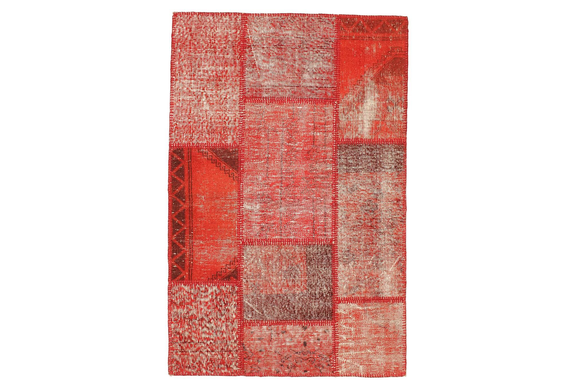 AGADIR Patchworkmatta 101x157 Modern Röd, Patchwork mattor