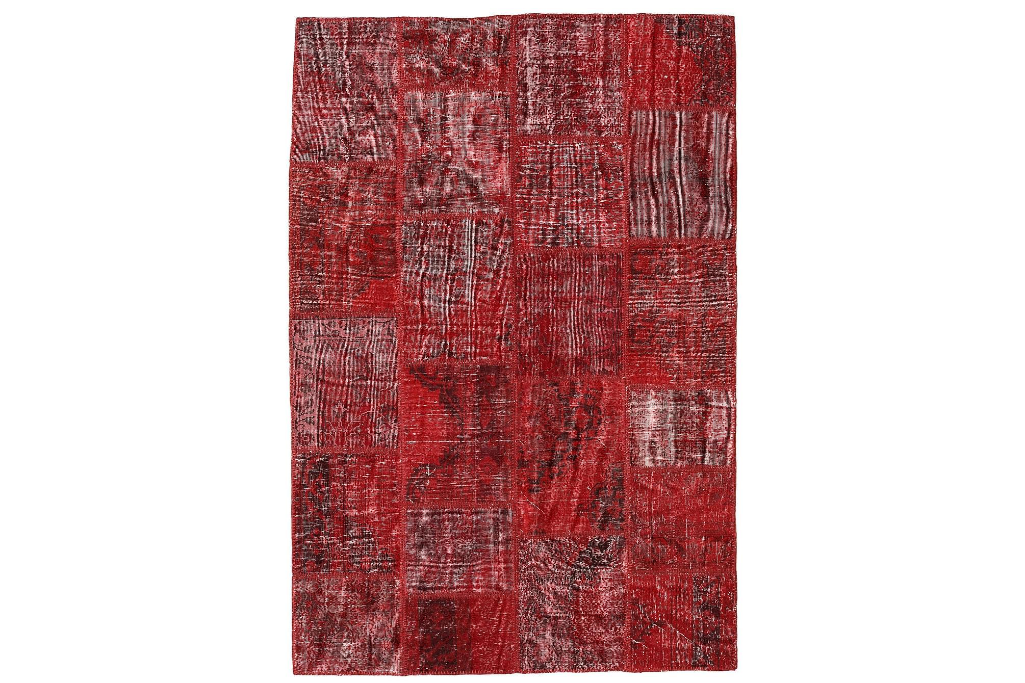 AGADIR Patchworkmatta 157x232 Modern Röd, Patchwork mattor