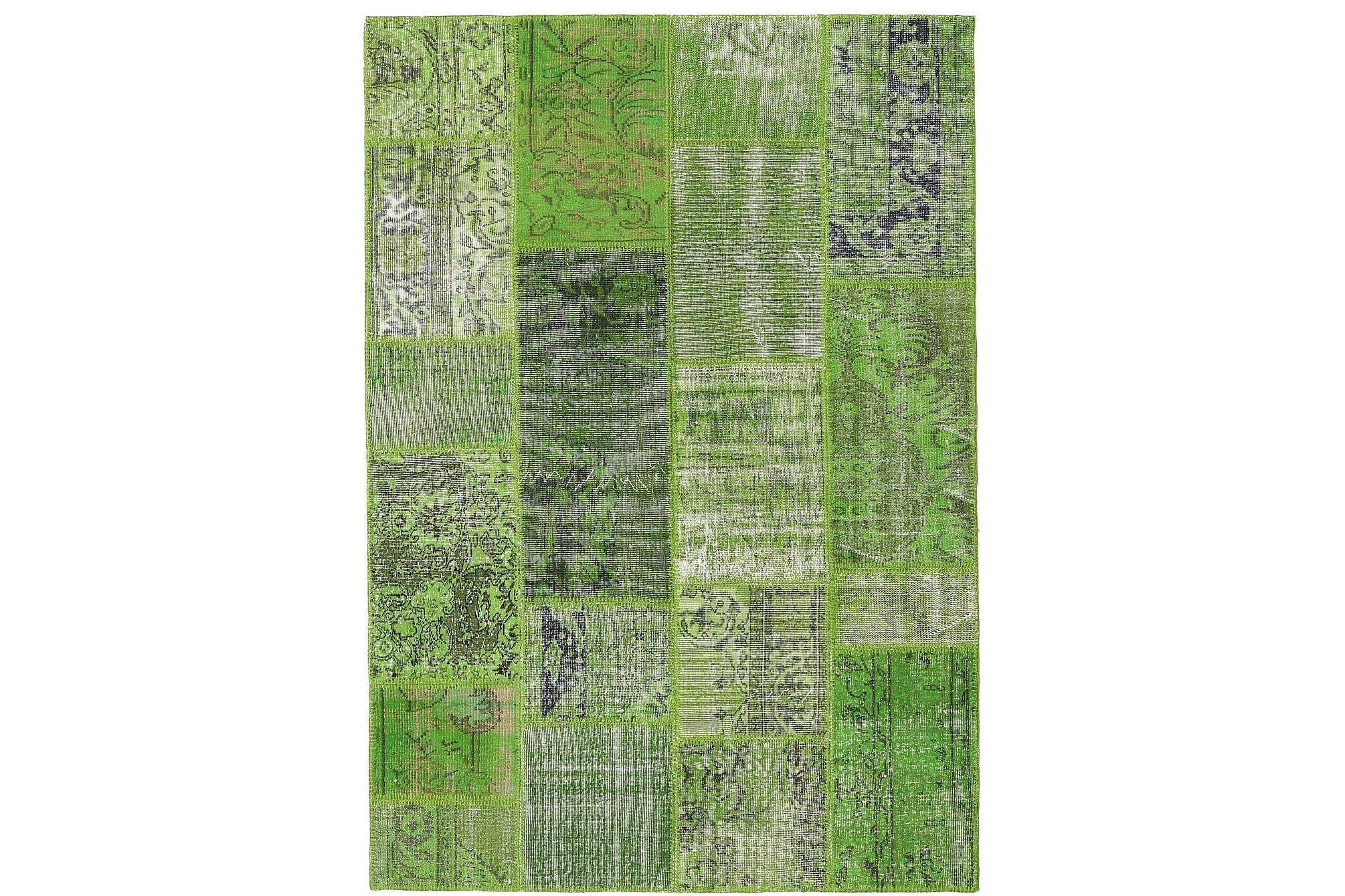 AGADIR Patchworkmatta 160x230 Stor Modern Grön, Patchwork mattor
