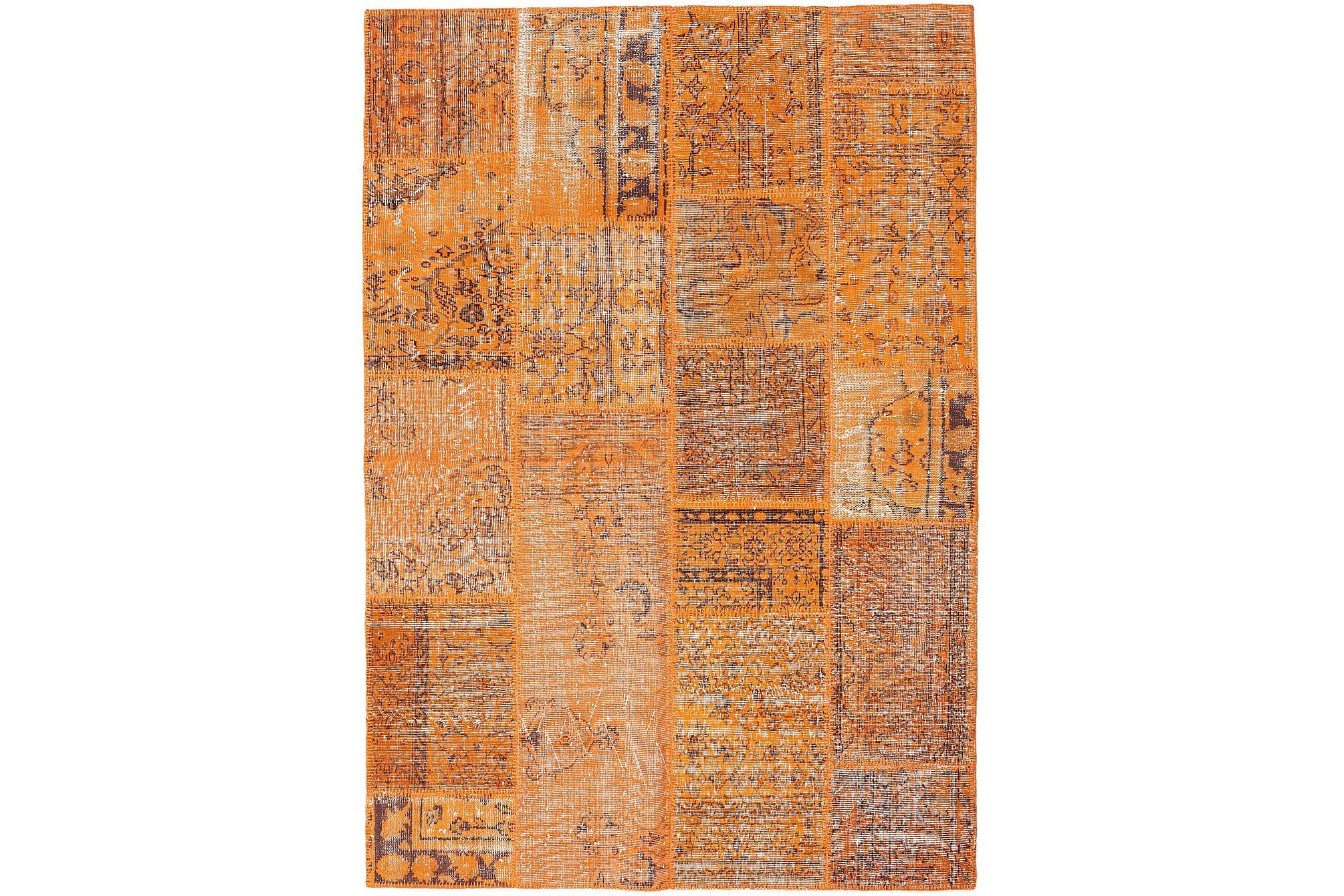 AGADIR Patchworkmatta 160×231 Stor Modern Brun/Orange