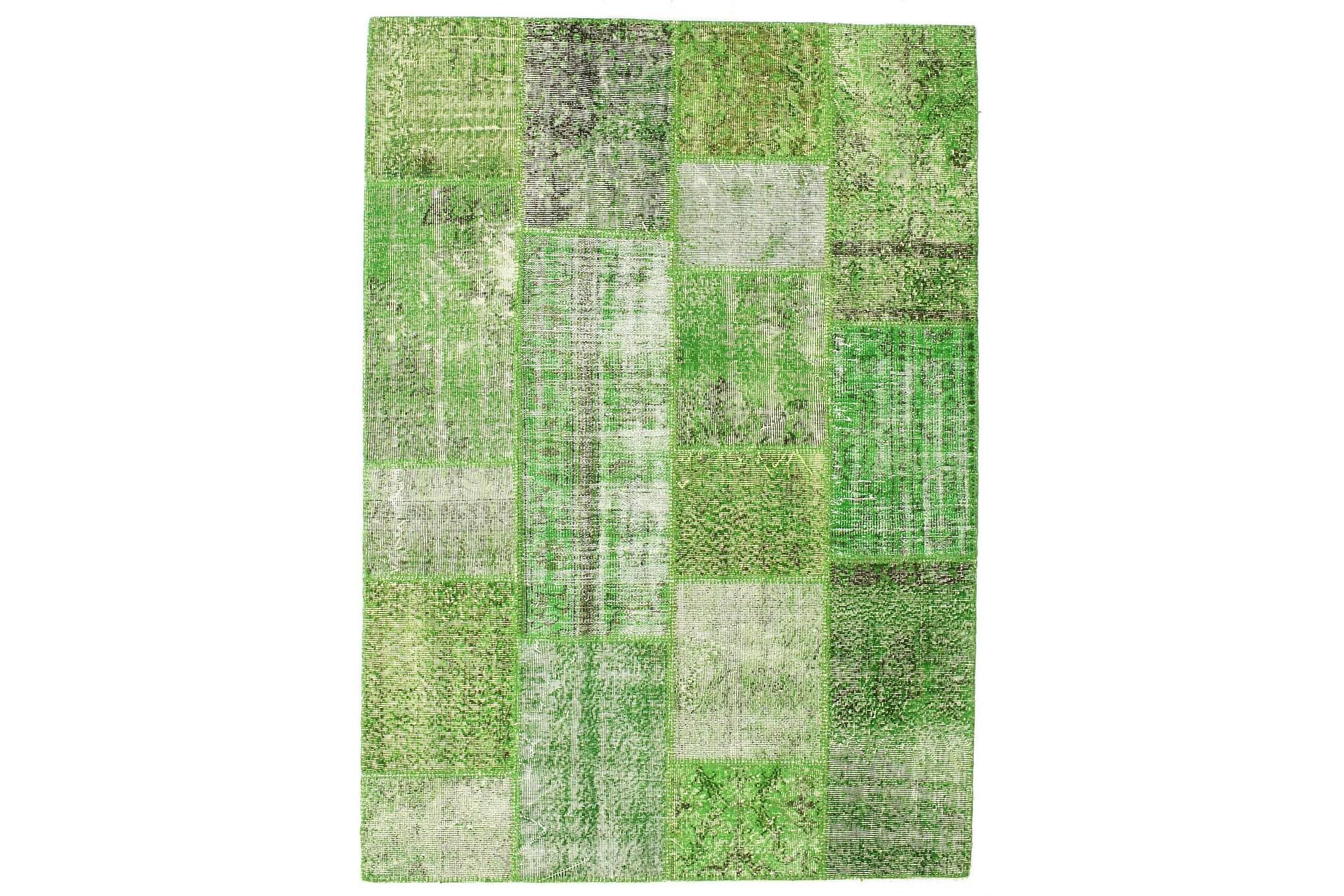 AGADIR Patchworkmatta 161x225 Stor Modern Grön, Patchwork mattor