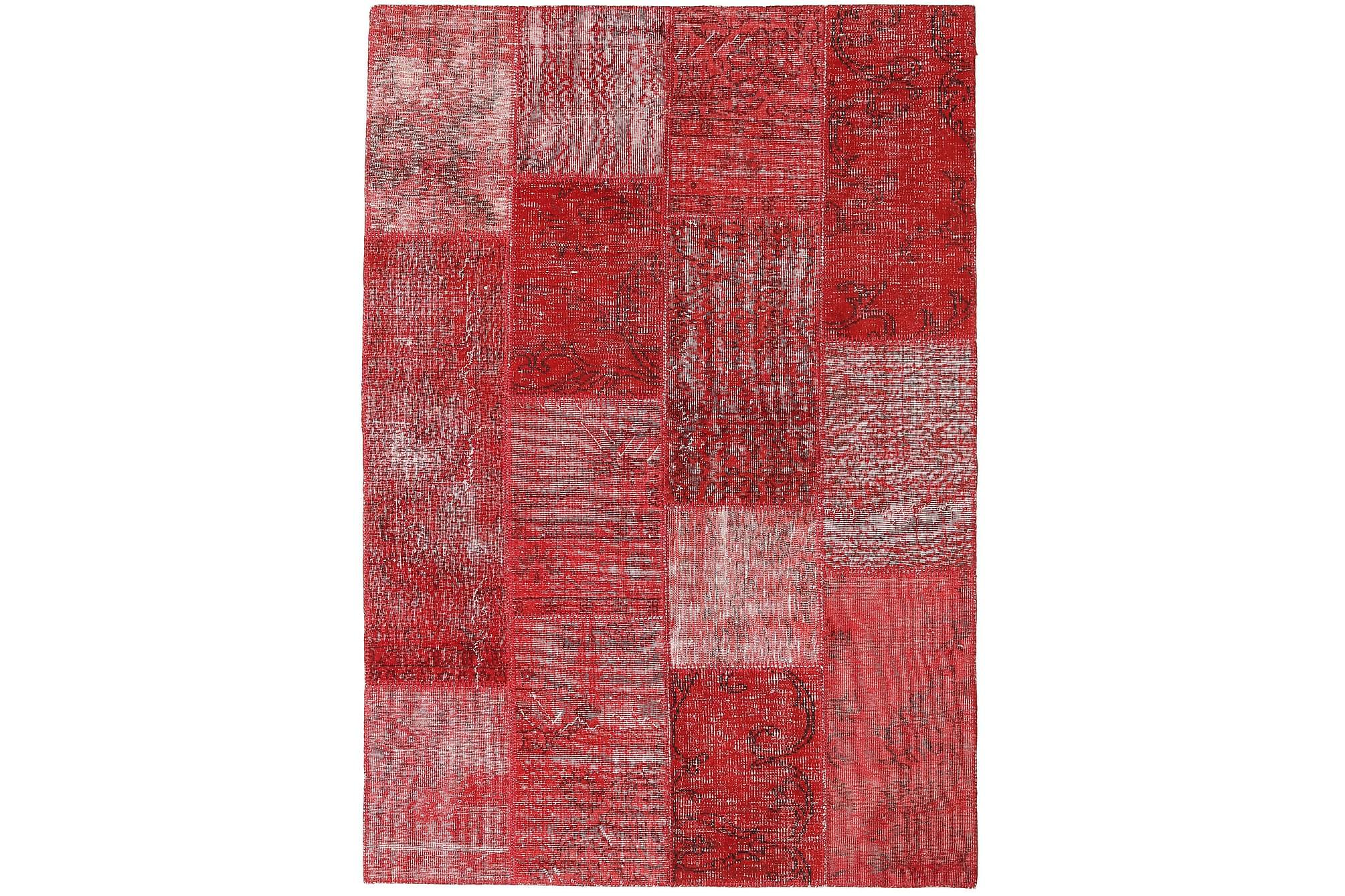 AGADIR Patchworkmatta 161x232 Stor Modern Röd, Patchwork mattor