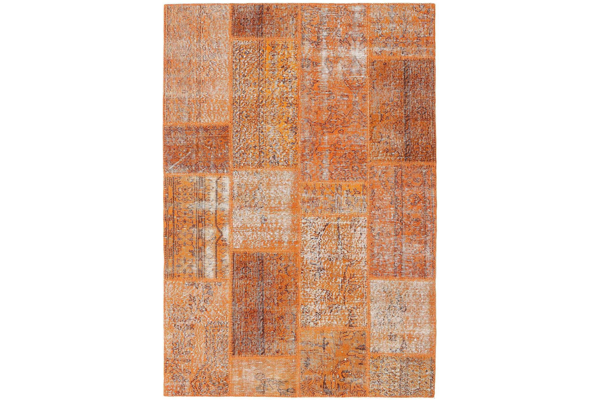 AGADIR Patchworkmatta 161x233 Stor Modern Brun/Orange, Patchwork mattor