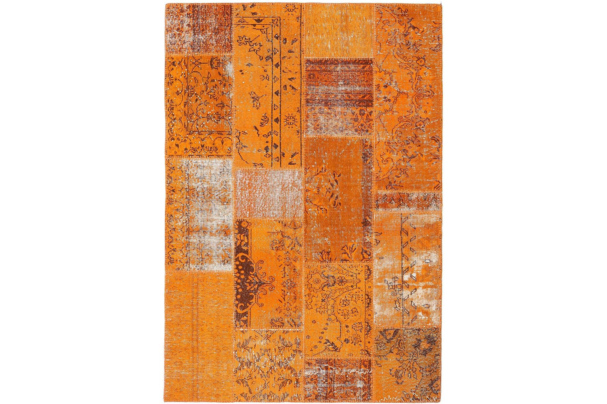 AGADIR Patchworkmatta 161×233 Stor Modern Orange