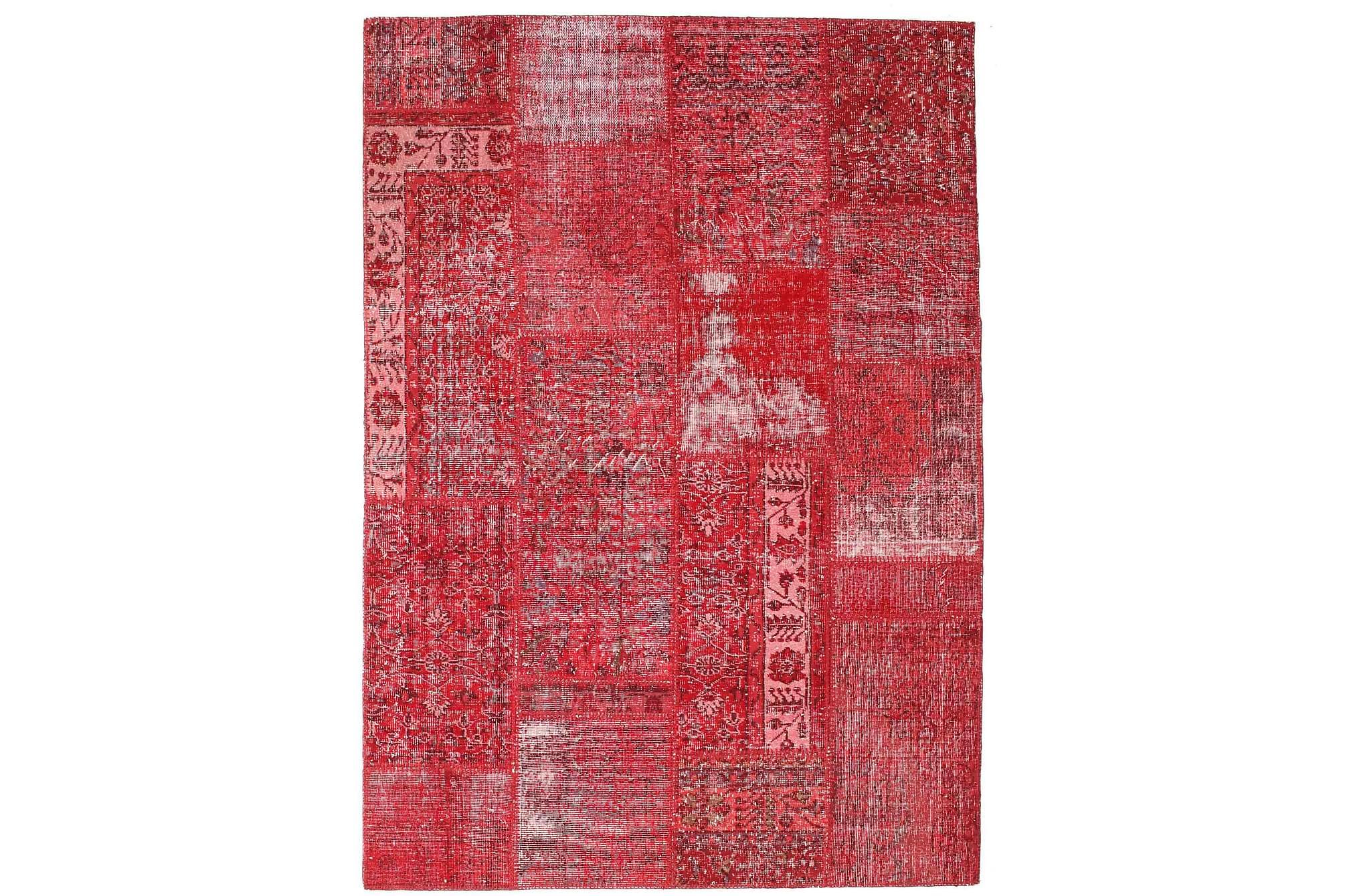 AGADIR Patchworkmatta 162x229 Stor Modern Röd, Patchwork mattor