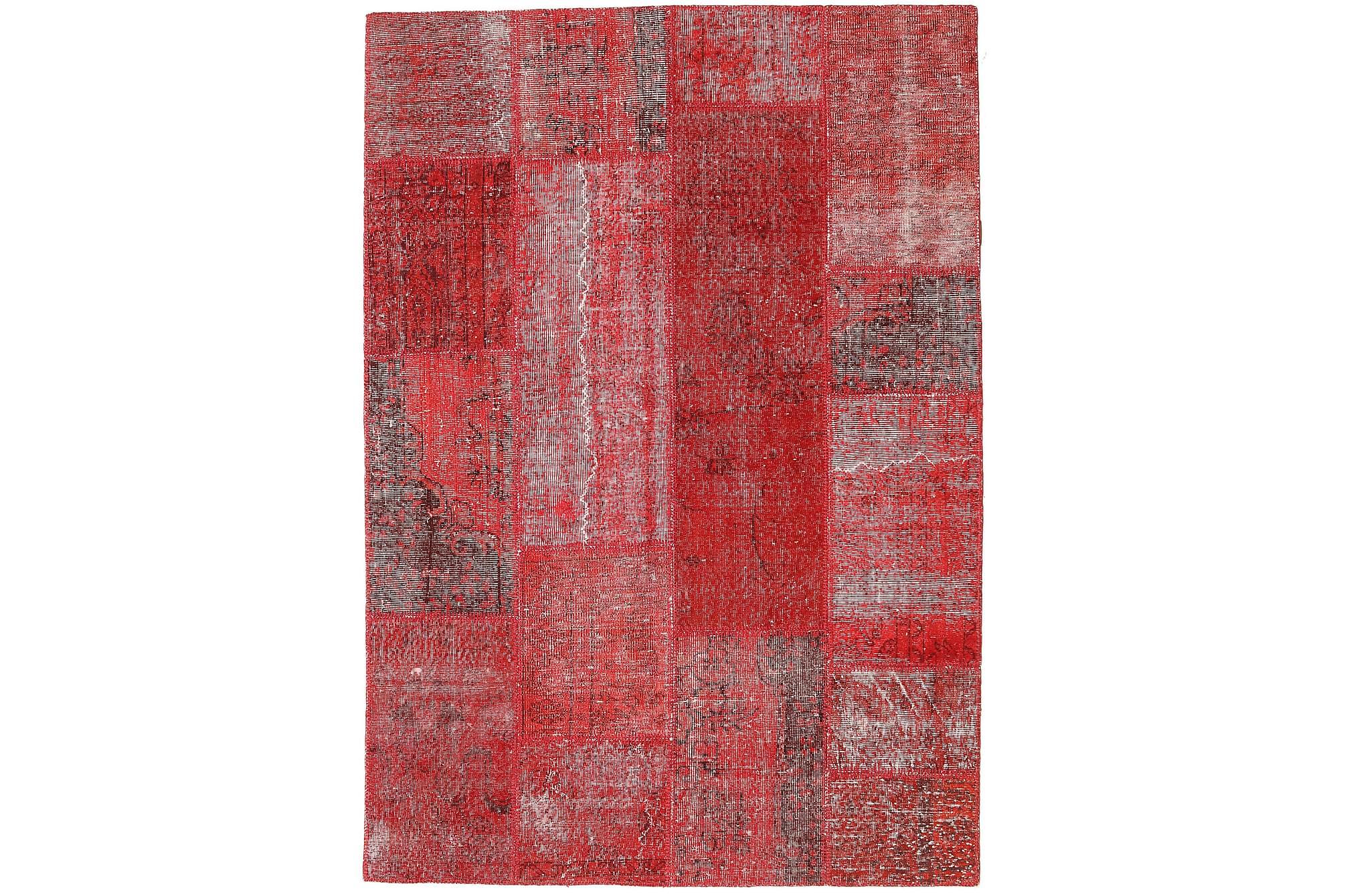 AGADIR Patchworkmatta 162x232 Stor Modern Röd, Patchwork mattor