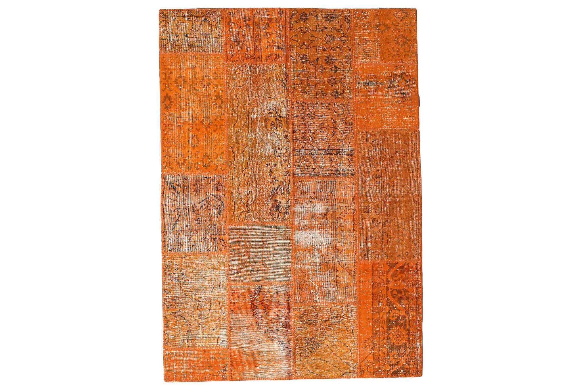 AGADIR Patchworkmatta 163x233 Stor Modern Orange, Patchwork mattor