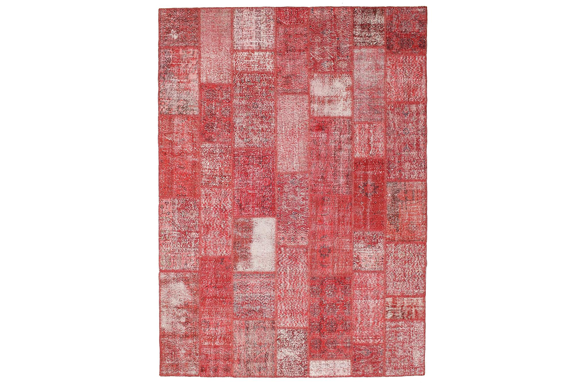 AGADIR Patchworkmatta 249×345 Stor Modern Röd