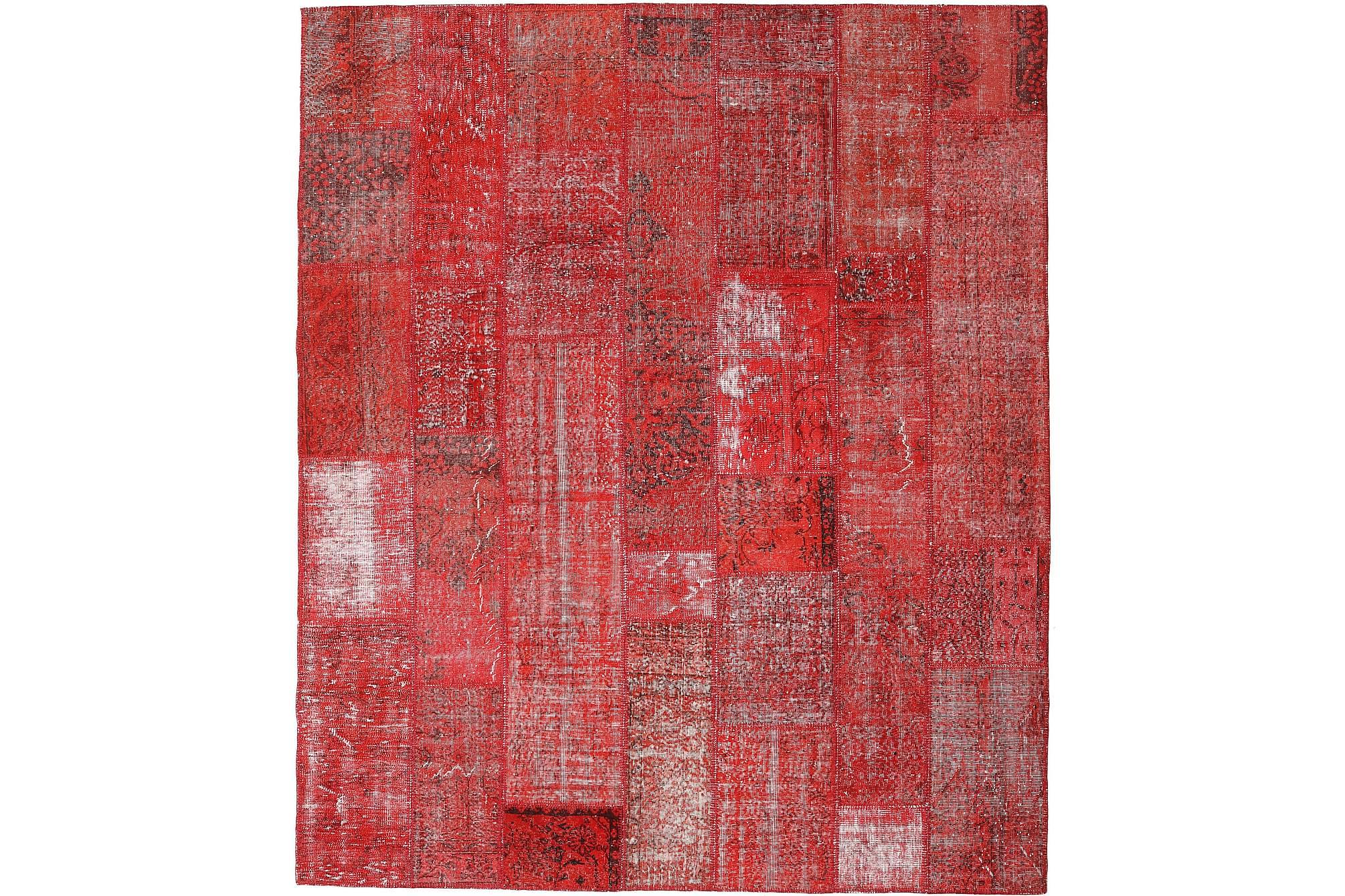 AGADIR Patchworkmatta 253×299 Stor Modern Röd