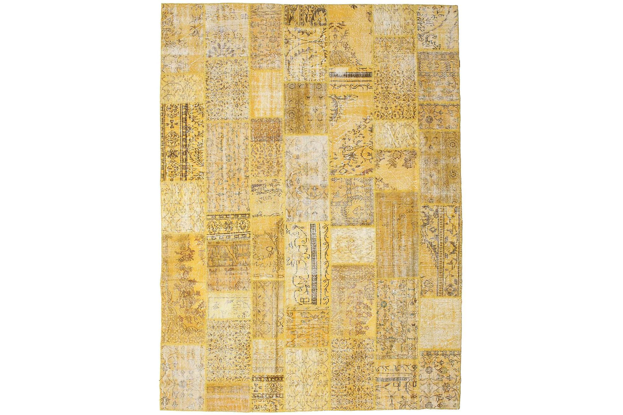 AGADIR Patchworkmatta 273×372 Stor Modern Gul