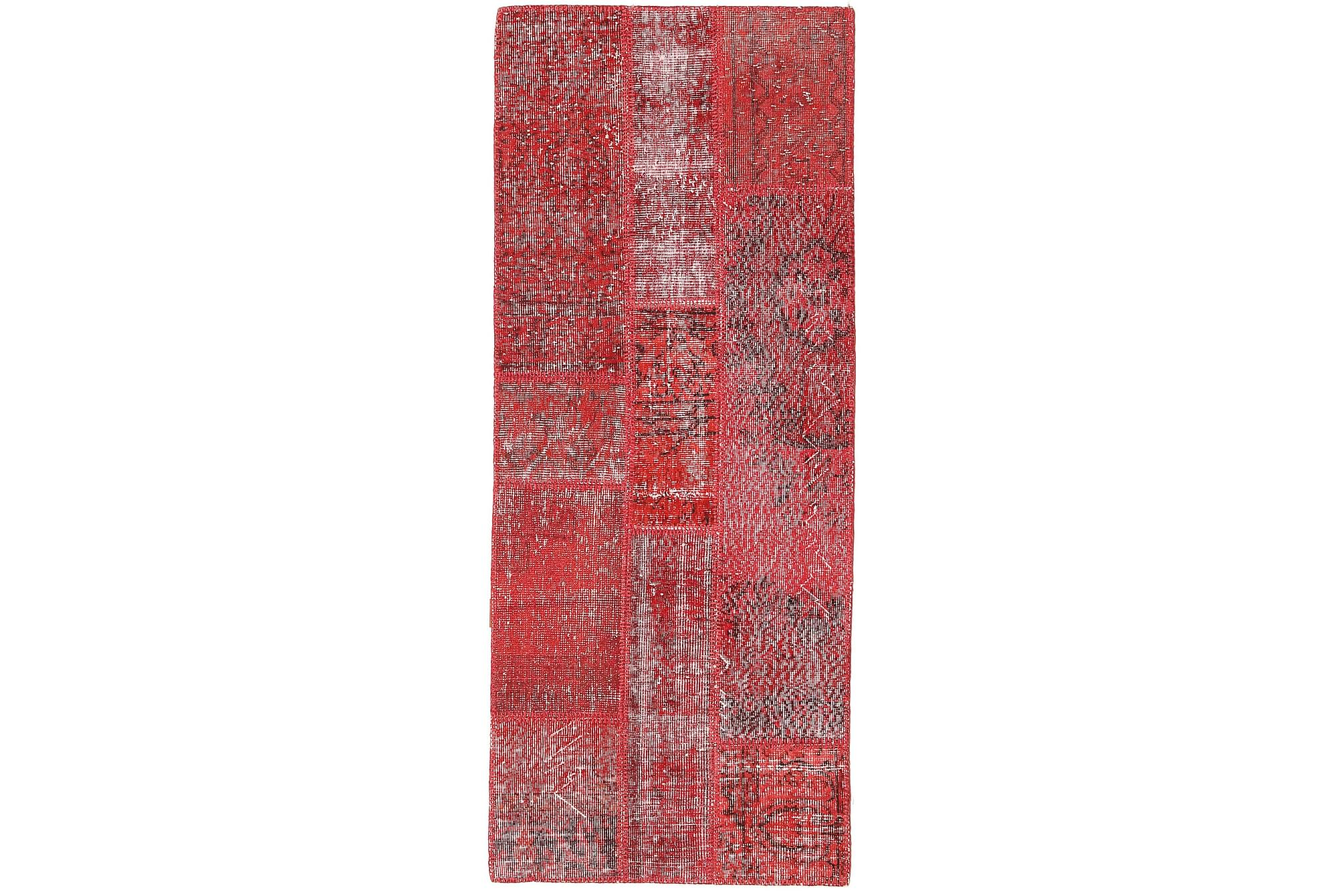 AGADIR Patchworkmatta 80×197 Stor Modern Röd
