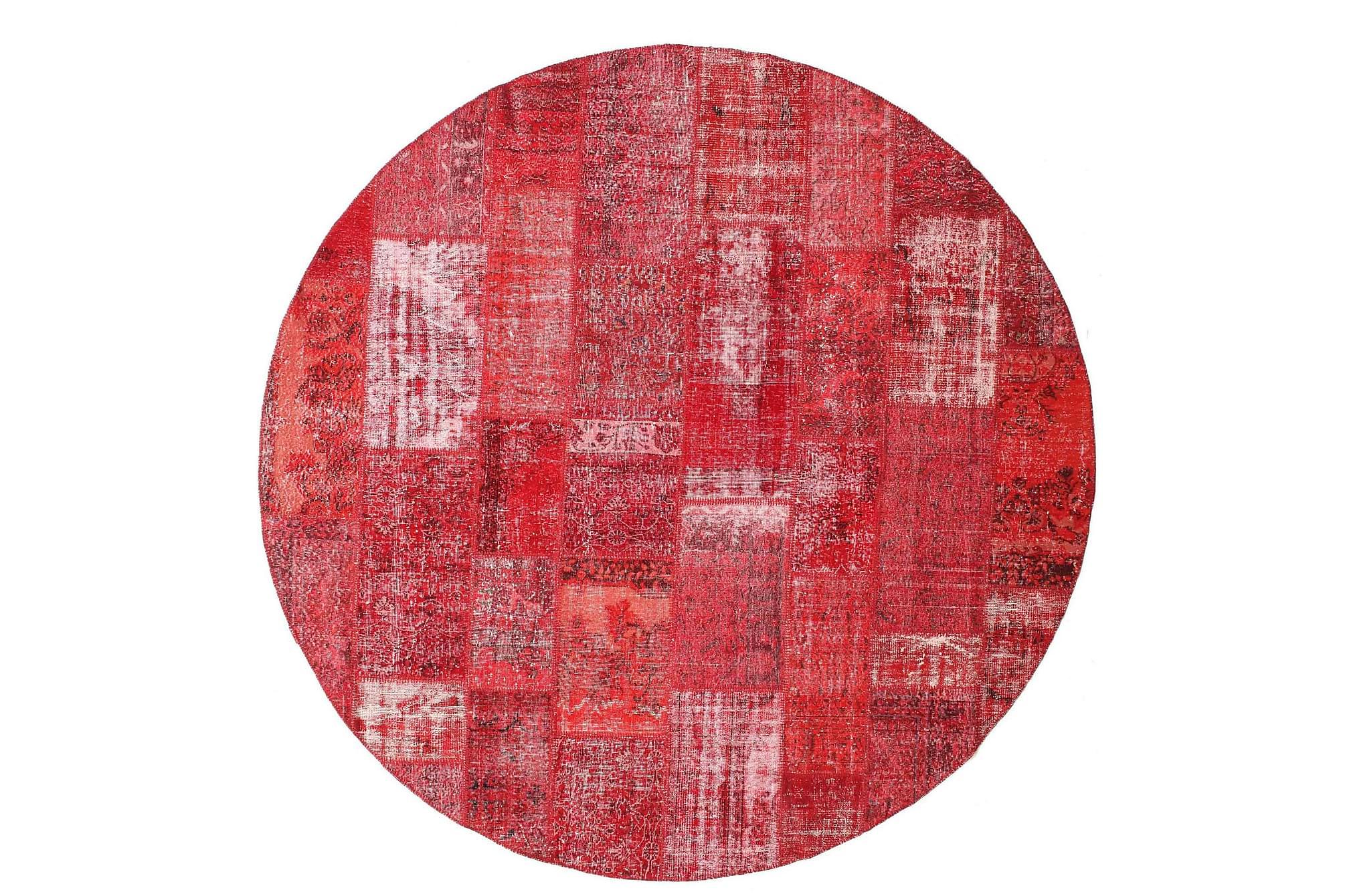 AGADIR Patchworkmatta Rund 300 Stor Modern Röd