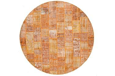 AGADIR Patchworkmatta Rund 391 Stor Modern Orange